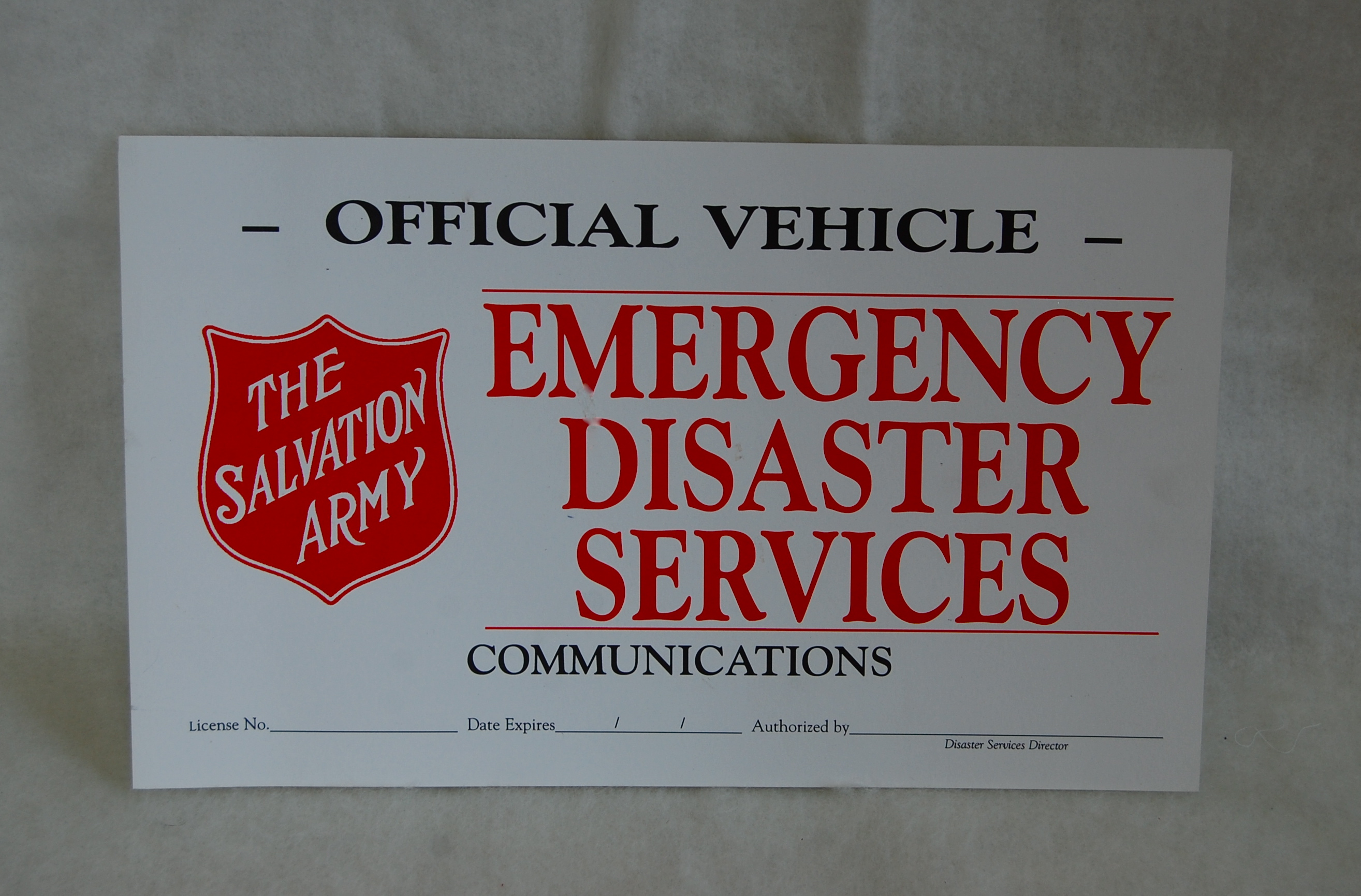 Official Communications Windshield Cards | The Salvation ...